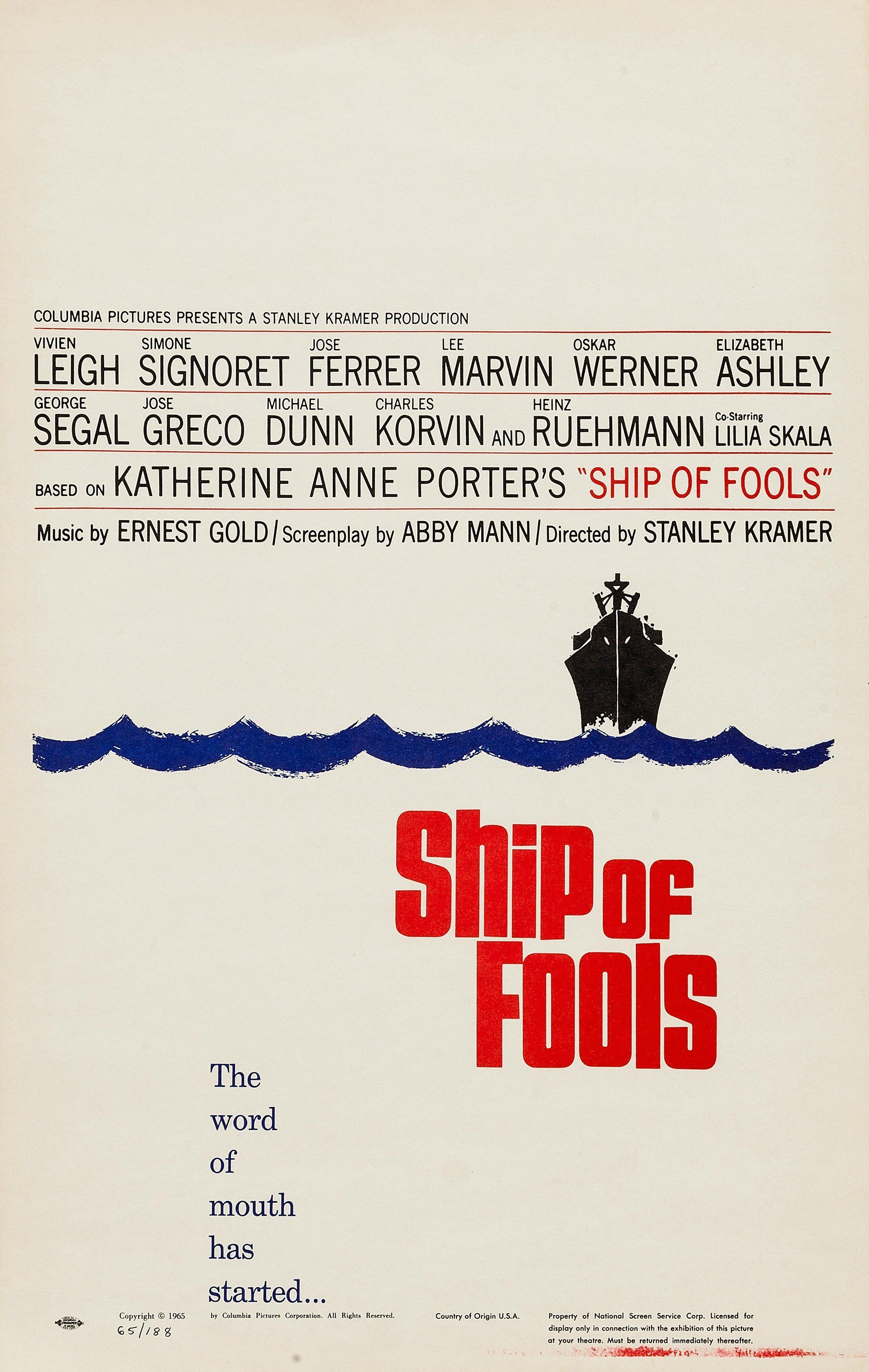 """Poster for the movie """"Ship of Fools"""""""