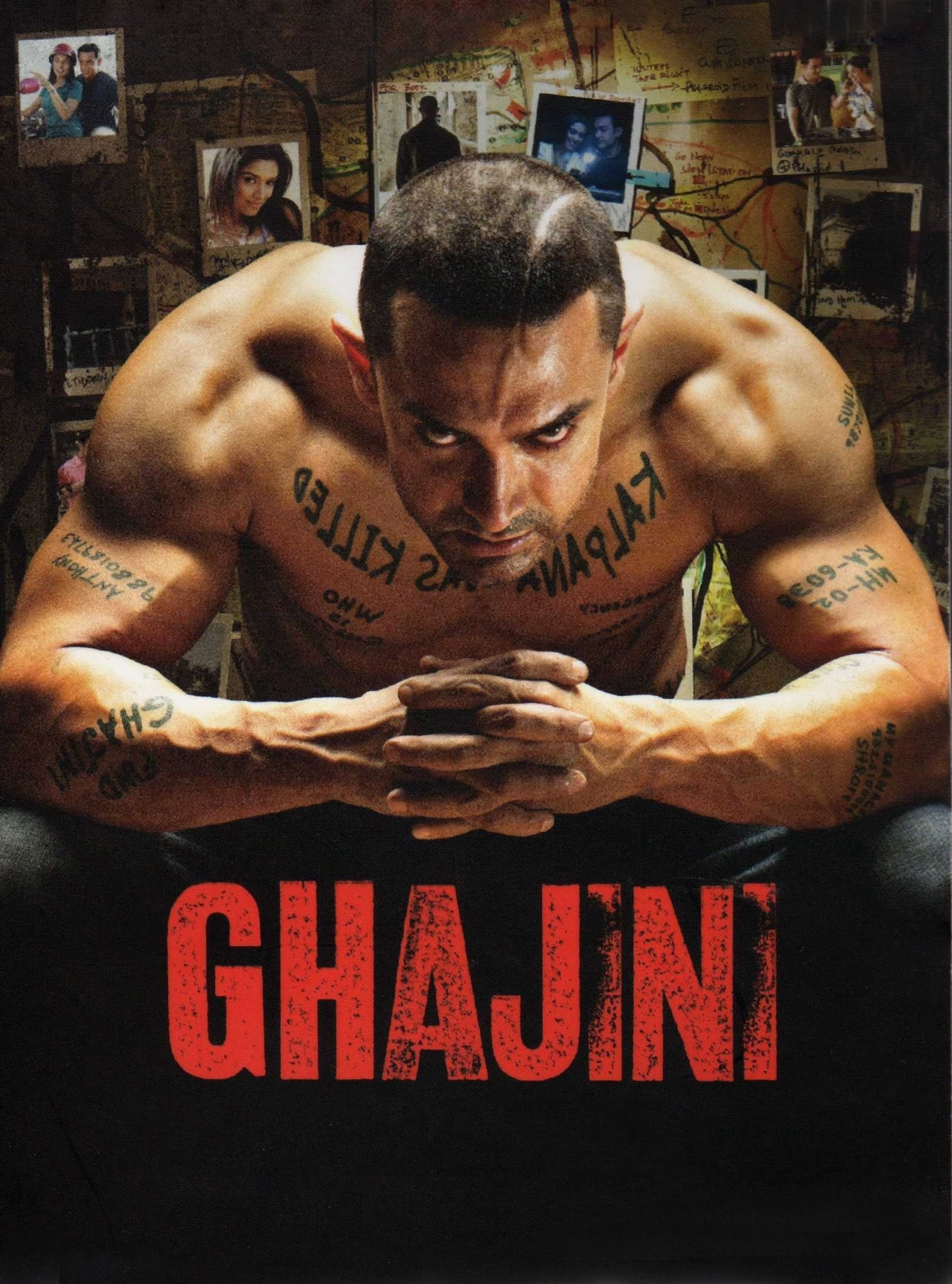 """Poster for the movie """"Ghajini"""""""